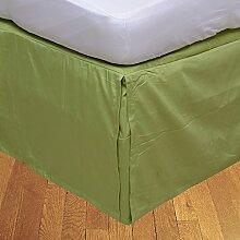 BudgetLinen 1PCs Box Plissee Bed Rock(Salbei ,