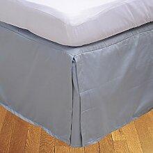 BudgetLinen 1PCs Box Plissee Bed Rock(Silbergrau ,