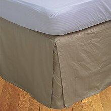 BudgetLinen 1PCs Box Plissee Bed Rock(Taupe , Euro
