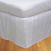 BudgetLinen 1PCs Box Plissee Bed Rock(Weiß ,