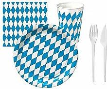 BUDILA® Partyset Oktoberfest 260-teilig für 50 Personen Teller, Becher, Servietten, Gabeln und Messer