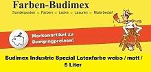 Budimex Industrie Spezial-Latexfarbe, weiss / matt / 5 Liter / Die ideale Wandfarbe für hoch beanspruchte Räume / Ideal für Räume in denen geraucht wird ! / Die gestrichene Oberfläche wird schmutzabweisend u. abwaschbar !