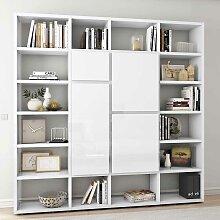 Bücher Regalwand in Weiß Hochglanz Türen