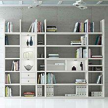 Bücher Regalwand mit LED Beleuchtung Weiß