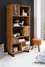 Bücherregal 180 x 80 x 35 cm Massiv Holz Mango