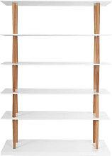 Bücherregal 5 Regale GILDA Holz Natur und Weiß