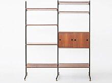 Bücherregal aus Holz, Metall & Messing, 1956