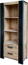 Bücherregal aus Teak Massivholz Metall Schwarz