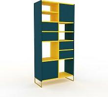 Bücherregal Blaugrün, Goldfüße - Modernes