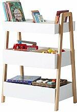 Bücherregal CHUANLAN Kinder Lagerregal Lagerregale Wohnzimmer Schlafzimmer Spielzeug Rack Regale Organizer Lagerschrank 3 Schichten Weiß
