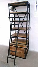Bücherregal Holz-Regal mit Leiter Mango Metall