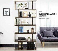 Bücherregal Holz, Standregal mit 6 Ebenen,