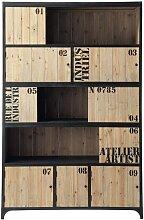Bücherregal im Vintage-Stil mit 5 Türen aus