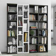 Bücherregal in Weiß und Eiche Schwarz Braun
