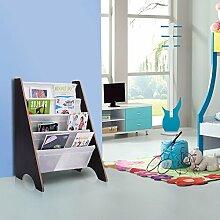 Bücherregal Kinderbücherregal Kinderregal Hängefächerregal Standregal Spielzeugregal Kinderzimmer mit 4 Fächern (Kaffeebraun)