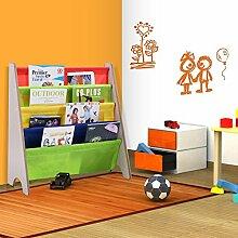 Bücherregal Kinderbücherregal Kinderregal Hängefächerregal Standregal Spielzeugregal Kinderzimmer mit 4 Fächern (Natur)