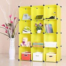 Bücherregal Kunststoff Bücherregal Regal Student Kind Wohnzimmer Studie Schlafzimmer ( Farbe : Gelb )