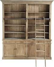 Bücherregal mit 2 Schubladen, 4 Türen und Leiter
