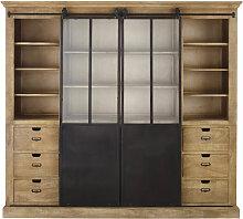 Bücherregal mit 2 Türen aus massivem Mangoholz