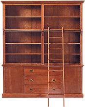 Bücherregal mit 3 Schubladen, 2 Türen und Leiter