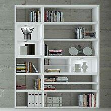 Bücherregal mit LED Beleuchtung Weiß Hochglanz
