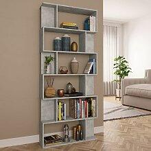 Bücherregal/Raumteiler Betongrau 80×24×192 cm