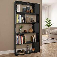 Bücherregal/Raumteiler Hochglanz-Schwarz