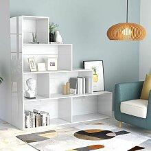 Bücherregal/Raumteiler Hochglanz-Weiß 155x24x160