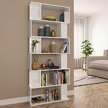 Bücherregal/Raumteiler Hochglanz-Weiß
