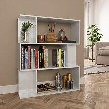 Bücherregal/Raumteiler Hochglanz-Weiß 80×24×96