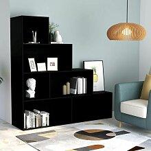 Bücherregal/Raumteiler Schwarz 155 x 24 x 160 cm
