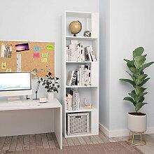 Bücherregal/Raumteiler Weiß 45×24×159 cm