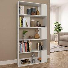 Bücherregal/Raumteiler Weiß 80×24×159 cm