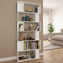 Bücherregal/Raumteiler Weiß 80×24×192 cm