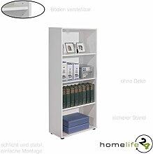 Bücherregal Standregal Regal in weiß mit vier Fächern, Nischen und drei höhenverstellbare Einlegeböden Ideal für die Diele, Flur, Büro oder Lof