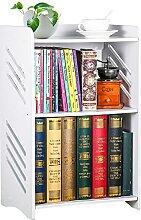 Bücherregal, weißer Nachttisch, kleines