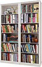 Bücherregale, Bibliotheksregale METEORA Kiefer massiv in weiß lasiert (2 Regal, 148 x 34 x 219 cm)