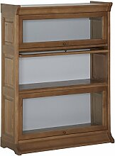 Bücherschrank mit 3 Glasklappen Pappel Massivholz 91x122x35- Modell Stake