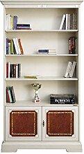 Bücherschrank mit Leder 2 Schranktüren