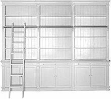 Bücherwand Chat, teilmontiert, Erle massiv, weiß lackiert, 15 Fächer, 6 Türen, 3 Auszüge