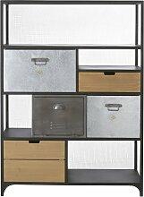 Bücherwand im Industrial-Stil mit 4 Schubladen