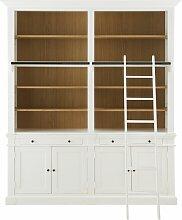 Bücherwand mit 2 Schubladen, 4 Türen und weißer
