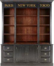 Bücherwand mit 6 Schubladen und 2 Türen, schwarz