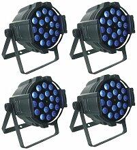 Bühnenlicht 4pcs 18X15W RGBWA UV-Stadiums-Disco-LED PAR licht64 Zoom(alle 4 Licht verteilen 1 Satz Adapter)