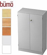Bümö® Office Aktenschrank abschließbar aus Holz inkl. 2 Einlegeböden | Büroschrank – Büro Schrankwand System (Aktenschrank | 3 Ordnerhöhen, Grau)