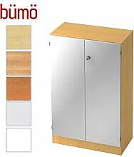Bümö® Office Aktenschrank abschließbar aus Holz inkl. 2 Einlegeböden | Büroschrank – Büro Schrankwand System (Aktenschrank | 3 Ordnerhöhen, Buche/Silber)