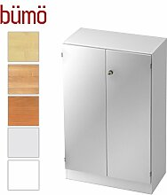 Bümö® Office Aktenschrank abschließbar aus Holz inkl. 2 Einlegeböden   Büroschrank – Büro Schrankwand System (Aktenschrank   3 Ordnerhöhen, Weiß/Silber)