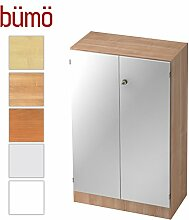 Bümö® Office Aktenschrank abschließbar aus Holz inkl. 2 Einlegeböden | Büroschrank – Büro Schrankwand System (Aktenschrank | 3 Ordnerhöhen, Nussbaum/Silber)