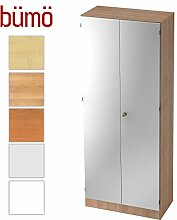 Bümö® Office Aktenschrank abschließbar aus Holz inkl. 4 Einlegeböden   Büroschrank – Büro Schrankwand System (Aktenschrank   5 Ordnerhöhen, Nussbaum/Silber)