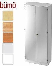 Bümö® Office Aktenschrank abschließbar aus Holz inkl. 4 Einlegeböden | Büroschrank – Büro Schrankwand System (Aktenschrank | 5 Ordnerhöhen, Weiß/Silber)